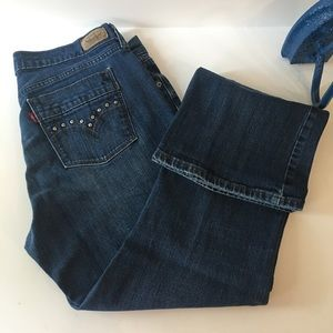 Levi's 515 Boot Cut Darkwash Jeans With Studs